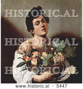 Historical Illustration of a Young Man Holding a Basket of Fruit by Al