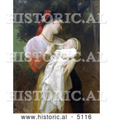 Historical Illustration of a Young Mother Holding Her Baby, Maternal Admiration by William-Adolphe Bouguereau by Al