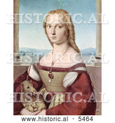 Historical Illustration of a Young Woman with a Baby Unicorn by Al