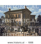 Historical Illustration of Abraham Lincoln on Horseback in Front of His Home, Being Greeting by Villages upon the Return of His Successful Campaign for the Presidency by Al