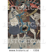 Historical Illustration of Actors Portraying Wadai Yoshimori, Tomoe Gozen, and Yamabuki - Scene 3 of 3 by Al