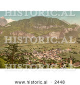 Historical Illustration of Aerial View of Meiringen, Bernese Oberland, Switzerland by Al