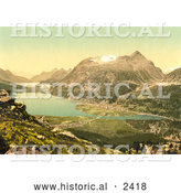 Historical Illustration of Agricultural Lakefront Valley, Switzerland by Al