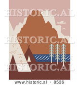 Historical Illustration of American Indian Tipis and Rock Art near a River and Mountains in Montana by Al