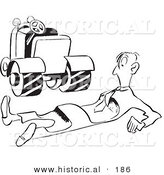 Historical Illustration of an Amateur Farmer Flattened by Farm Equipment - Outlined Version by Al