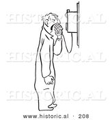 Historical Illustration of an Angry Cartoon Mechanic Yelling into a Phone - Outlined Version by Al