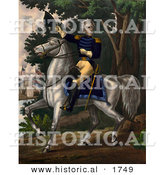 Historical Illustration of Andrew Jackson Riding Horse with the Tennessee Forces on Hickory Grounds by Al
