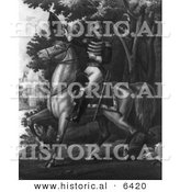 Historical Illustration of Andrew Jackson Riding Horseback with the Tennessee Forces on the Hickory Grounds - Black and White Version by Al