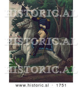 Historical Illustration of Andrew Jackson Riding Horseback with the Tennessee Forces on the Hickory Grounds by Al