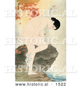 Historical Illustration of Autumn Maple Leaves Around an Asian Woman Bathing Her Feet over a Stream by Al