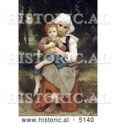 Historical Illustration of Breton Brother and Sister by William-Adolphe Bouguereau by Al