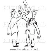 Historical Illustration of Cartoon Men Trying to Exchange Cards While Getting Tangled up - Outlined Version by Al