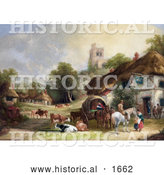 Historical Illustration of Cattle, Horses, People and Carriages at the Swan Inn of a Village, with a Castle in the Background by Al