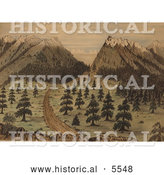 Historical Illustration of Cherokee Pass in the Rocky Mountains by Al