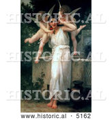 Historical Illustration of Cherubs with a Beautiful Young Woman, Youth by William-Adolphe Bouguereau by Al