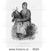 Historical Illustration of Chippeway Widow - Black and White Version by Al