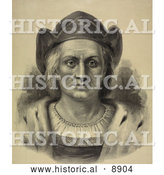 Historical Illustration of Christopher Columbus Facing Front and Wearing a Hat by Al