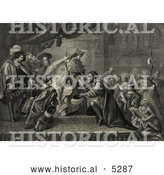Historical Illustration of Christopher Columbus Kneeling in Front of King Ferdinand and Queen Isabella of Spain As Natives and Other People Watch During a Reception After His First Return from America by Al