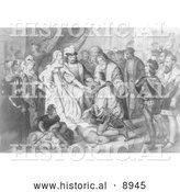 Historical Illustration of Christopher Columbus Kneeling in Front of Queen Isabella I - Black and White Version by Al