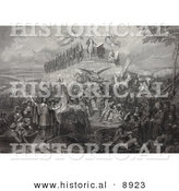 Historical Illustration of Christopher Columbus, Pilgrims, Battles and Presidents - Black and White Version by Al