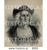 Historical Illustration of Christopher Columbus Wearing a Hat by Al