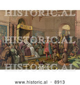 Historical Illustration of Christopher Columbus with Natives from the New World, Standing Proudly Before the King and Queen of Spain, King Ferdinand and Queen Isabella, at the Court of Barcelona, Spain in February of 1493 by Al