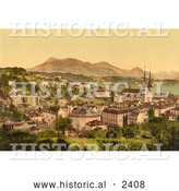 Historical Illustration of City of Lucerne and Rigi Mountain in Switzerland by Al