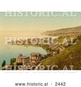 Historical Illustration of Coastal Village of Montreux and Clarens, Switzerland by Al