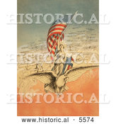 Historical Illustration of Columbia on an Eagle, Holding Flag, Followed by Airplanes by Al