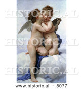 Historical Illustration of Cupid and Psyche As Children, Kissing, by William-Adolphe Bouguereau by Al