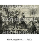 Historical Illustration of Curious Natives Watching a Man Kneeling and Bowing to Christopher Columbus and His Men upon Landing in the New World by Al