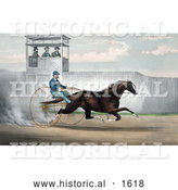 Historical Illustration of Dan Mace Racing and Driving Trotting Horse Judge Fullerton by Al