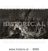 Historical Illustration of David Zeisberger Preaching to the Native Americans Around a Fire by Al