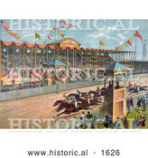 Historical Illustration of Excited Crowds Watching a Horse Race at the Brighton Beach Race Course in New Jersey by Al