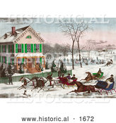 Historical Illustration of Four Horse Drawn Sleighs Racing down a Street in Front of a Home While People Watch or Ice Skate in the Background by Al