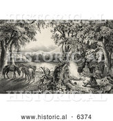 Historical Illustration of Four Male Campers Sitting Around a Fire with Their Horses in the Background by Al