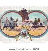 Historical Illustration of Four Racing Jockeys on Horseback, in Three Different Scenes by Al