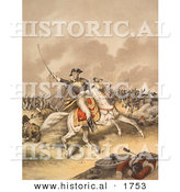 Historical Illustration of General Andrew Jackson Charging Forward on His Horse in the Battle of New Orleans by Al
