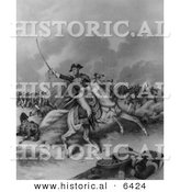 Historical Illustration of General Andrew Jackson Charging Forward with Soldiers - Battle of New Orleans - Black and White Version by Al