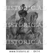 Historical Illustration of General Benjamin Harrison Charging Forward on Horseback with Soldiers Running in the Background - Black and White Version by Al