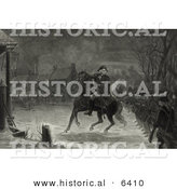 Historical Illustration of George Washington Leading Continental Army Soldiers at the Battle of Trenton by Al