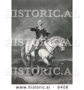 Historical Illustration of George Washington Riding Horse While Holding His Hat and Pointing His Sword by Al