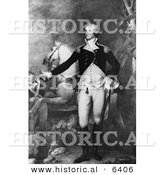 Historical Illustration of George Washington Standing with His Horse - Black and White Version by Al