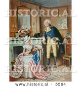 Historical Illustration of George Washington Watching Betsy Ross Sew the American Flag by Al