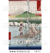 Historical Illustration of Herons Flying near Japanese Men Riding Rafts on the Sagami River with a View of Mt Fuji, Japan in the Background by Al