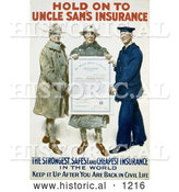 "Historical Illustration of ""Hold on to Uncle Sam's Insurance"" 1918 by Al"