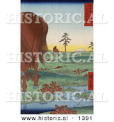 Historical Illustration of Horses Grazing near a Stream in Kogane Fields in Shimosa Province with Mt Fuji in the Background by Al