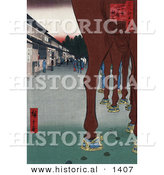 Historical Illustration of Horses Parked near Japanese Shops by Al