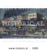 Historical Illustration of Horses Pulling Firemen on a Horse Drawn Fire Engine Carriage, on Their Way to Extinguish a City Fire by Al
