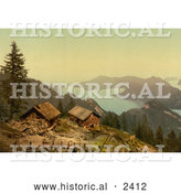 Historical Illustration of Houses near Lake Lucerne, Switzerland by Al